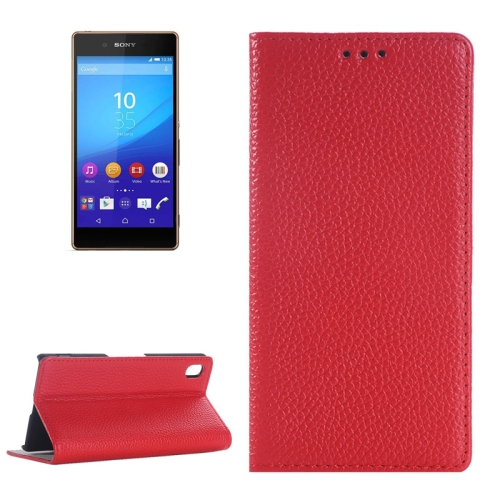 Litchi Texture Genuine Leather Case for Sony Xperia Z4 with Holder & Card Slot (Red)