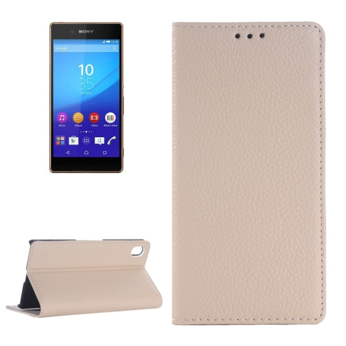 Litchi Texture Genuine Leather Case for Sony Xperia Z4 with Holder & Card Slot (White)