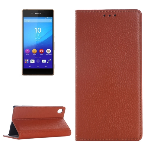 Litchi Texture Genuine Leather Case for Sony Xperia Z4 with Holder & Card Slot (Brown)