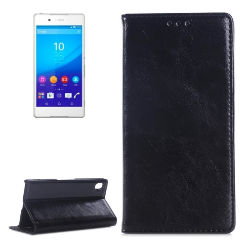 Crazy Horse Texture Horizontal Flip Leather Case for Sony Xperia Z4 with Card Slots & Stand (Black)