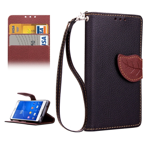 Leaf Magnetic Snap Litchi Texture Horizontal Flip Leather Case for Sony Xperia Z4 Compact (Black)
