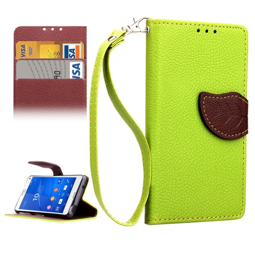 Leaf Magnetic Snap Litchi Texture Horizontal Flip Leather Case for Sony Xperia Z4 Compact (Green)