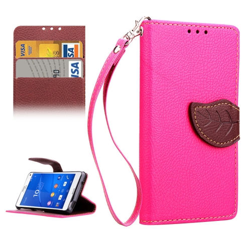 Leaf Magnetic Snap Litchi Texture Horizontal Flip Leather Case for Sony Xperia Z4 Compact (Rose)