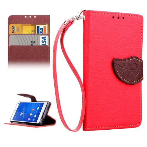 Leaf Magnetic Snap Litchi Texture Horizontal Flip Leather Case for Sony Xperia Z4 Compact (Red)