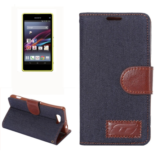 Denim Texture Horizontal Flip Leather Case for Sony Xperia Z4 Compact with Card Slot (Black)