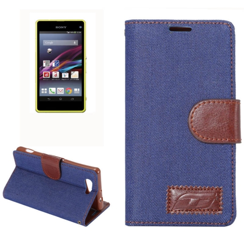 Denim Texture Horizontal Flip Leather Case for Sony Xperia Z4 Compact with Card Slot (Dark Blue)