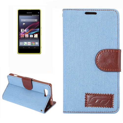 Denim Texture Horizontal Flip Leather Case for Sony Xperia Z4 Compact with Card Slot (Blue)