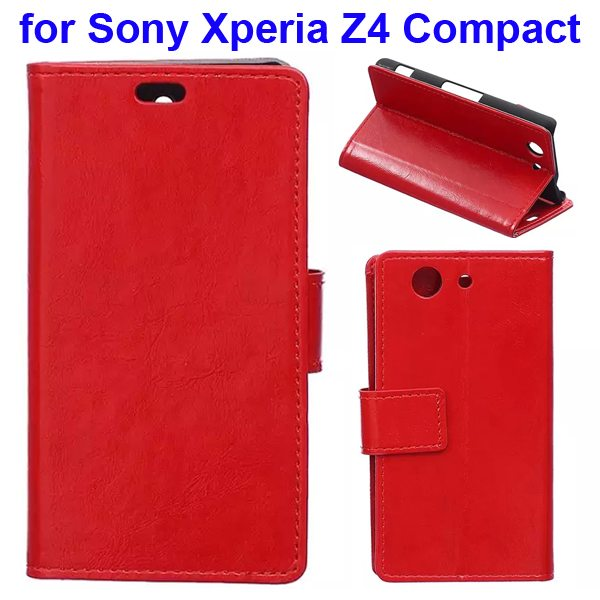 Crazy Horse Texture Flip Wallet Style Leather Case Cover for Sony Xperia Z4 Compact (Red)