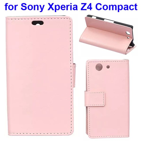 Crazy Horse Texture Flip Wallet Style Leather Case Cover for Sony Xperia Z4 Compact (Pink)