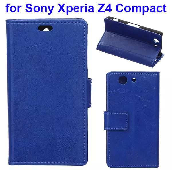 Crazy Horse Texture Flip Wallet Style Leather Case Cover for Sony Xperia Z4 Compact (Blue)