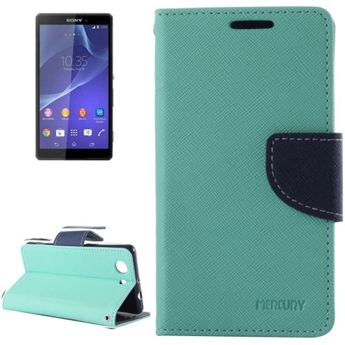 Cross Texture Wallet Leather Cover for Sony Xperia Z3 Compact with Stand and Holder (Green)