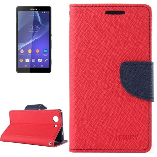 Cross Texture Wallet Leather Cover for Sony Xperia Z3 Compact with Stand and Holder (Red)
