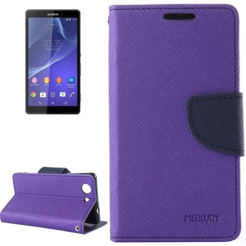 Cross Texture Wallet Leather Cover for Sony Xperia Z3 Compact with Stand and Holder (Purple)