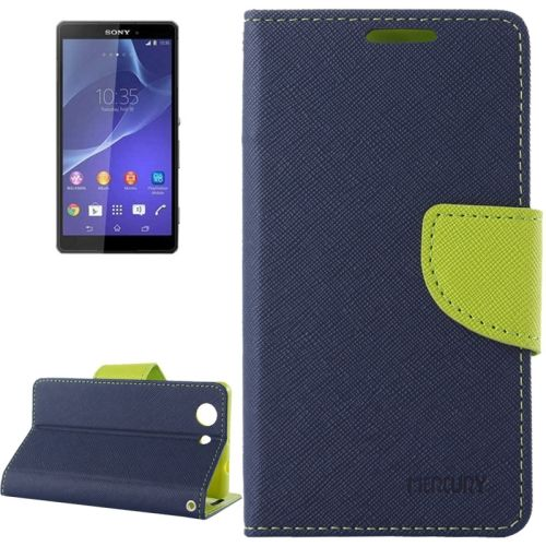 Cross Texture Wallet Leather Cover for Sony Xperia Z3 Compact with Stand and Holder (Blue)