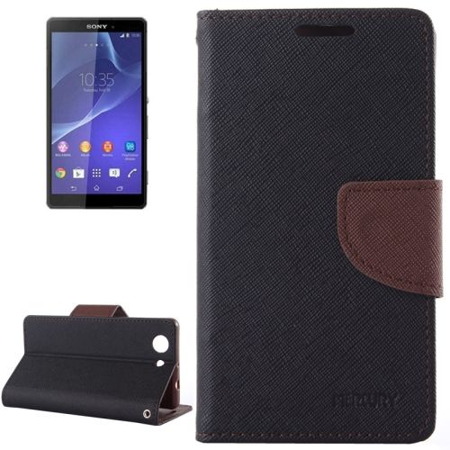Cross Texture Wallet Leather Cover for Sony Xperia Z3 Compact with Stand and Holder (Black and Brown)