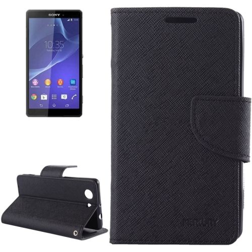 Cross Texture Wallet Leather Cover for Sony Xperia Z3 Compact with Stand and Holder (Black)