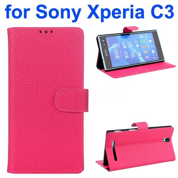 Litchi Texture Style Flip Leather Wallet Case for Sony Xperia C3 with Card Slots (Rose)