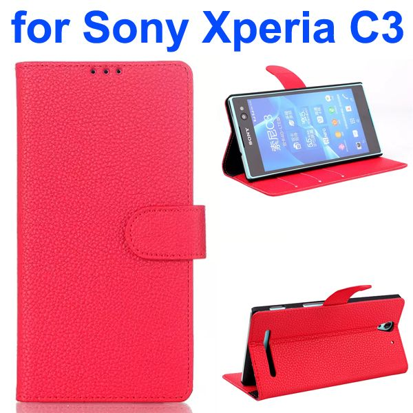 Litchi Texture Style Flip Leather Wallet Case for Sony Xperia C3 with Card Slots (Red)