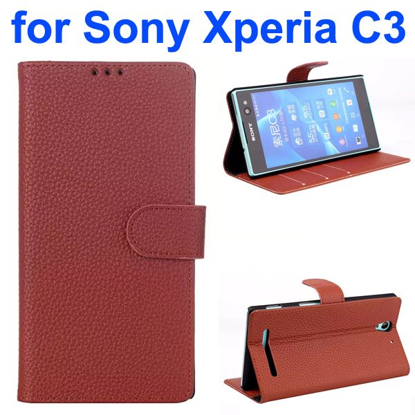 Litchi Texture Style Flip Leather Wallet Case for Sony Xperia C3 with Card Slots (Brown)