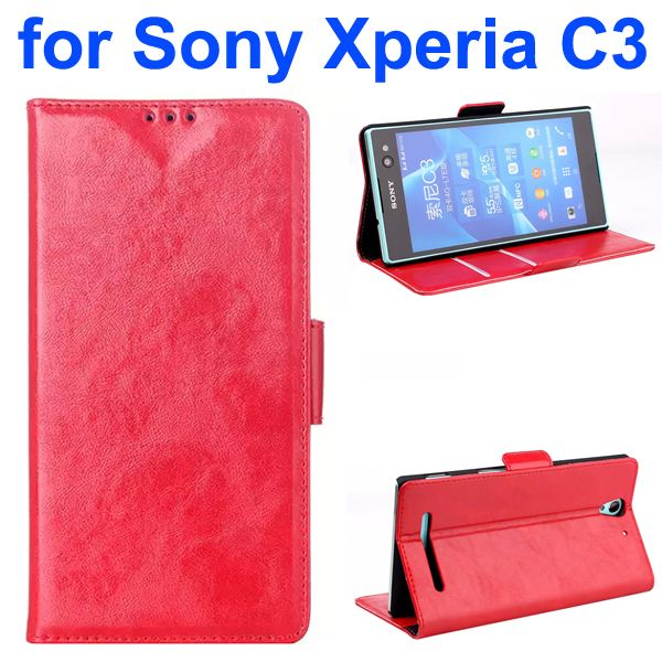 Oil Coated Pattern Wallet Style Flip Leather Phone Case for Sony Xperia C3 (Red)