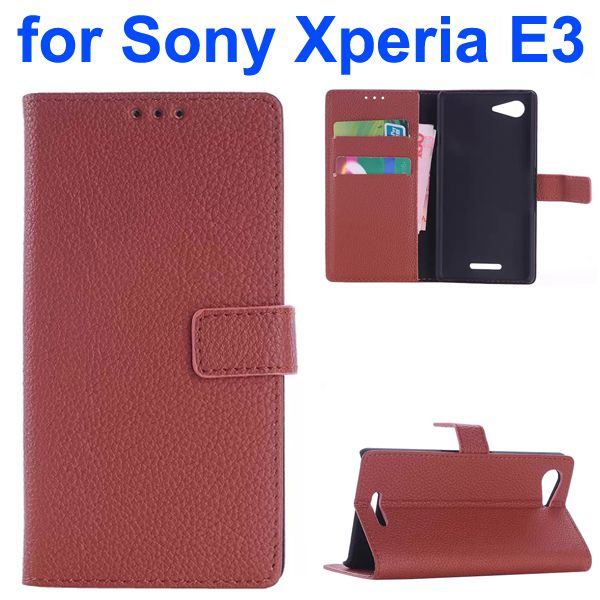 Litchi Texture Wallet Leather Flip Cover for Sony Xperia E3 (Brown)