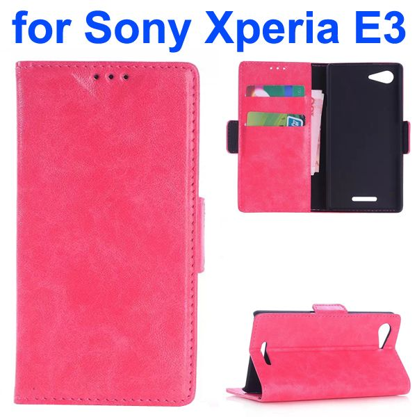 Oil Coated Pattern Flip Leather Wallet Case for Sony Xperia E3 (Rose)