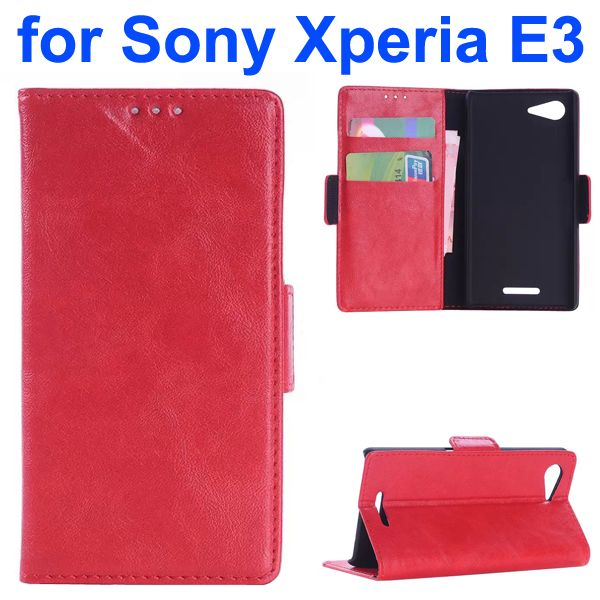Oil Coated Pattern Flip Leather Wallet Case for Sony Xperia E3 (Red)