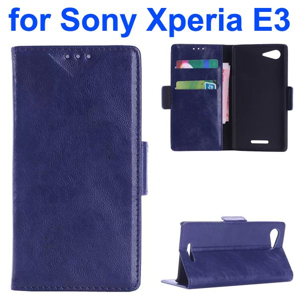 Oil Coated Pattern Flip Leather Wallet Case for Sony Xperia E3 (Blue)