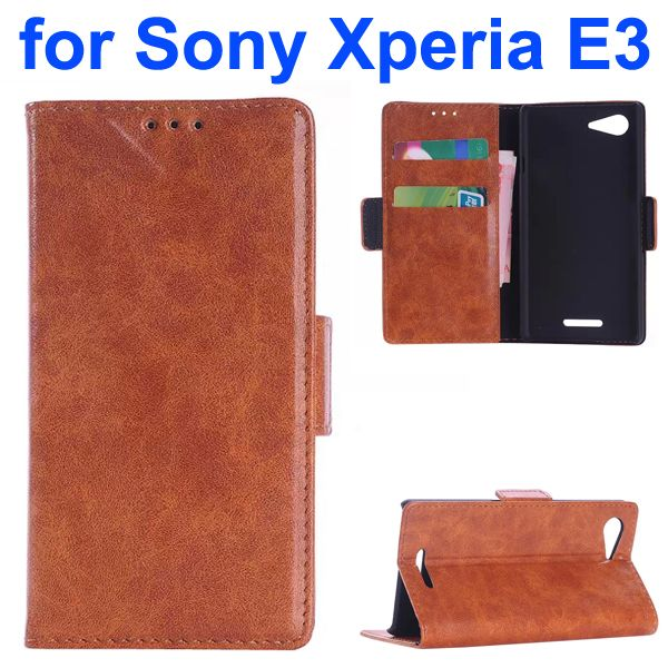 Oil Coated Pattern Flip Leather Wallet Case for Sony Xperia E3 (Brown)