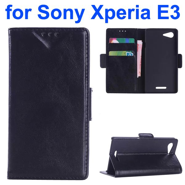 Oil Coated Pattern Flip Leather Wallet Case for Sony Xperia E3 (Black)