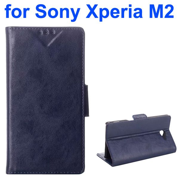 Oil Printing Crazy Horse Texture Wallet Style Flip Cover for Sony Xperia M2 (Blue)