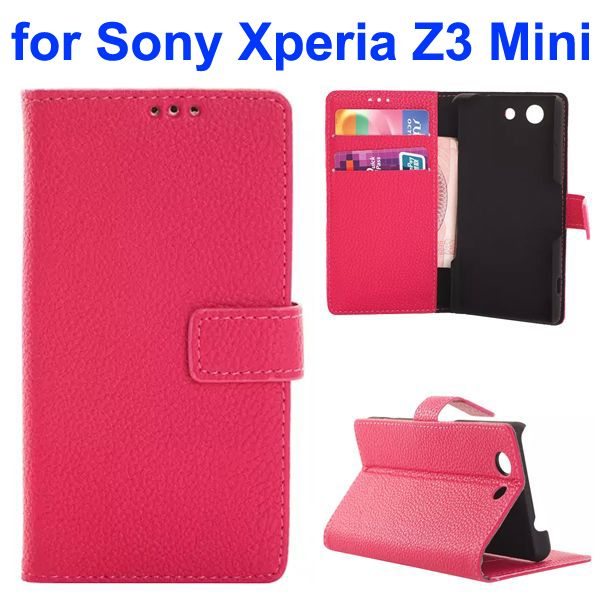 Factroy Price Custom Litchi Texture Wallet Style Flip Leather Cover for Sony Xperia Z3 Mini (Rose)