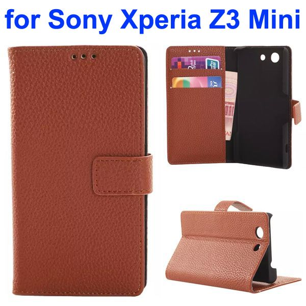 Factroy Price Custom Litchi Texture Wallet Style Flip Leather Cover for Sony Xperia Z3 Mini (Brown)