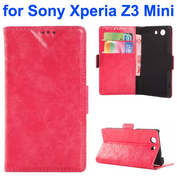 China Wholesale Oil Coated Flip Leather Wallet Case for Sony Xperia Z3 Mini (Rose)