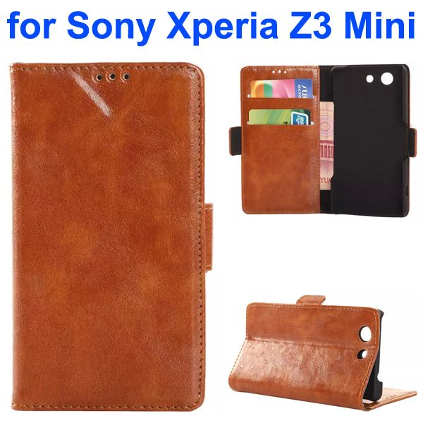 China Wholesale Oil Coated Flip Leather Wallet Case for Sony Xperia Z3 Mini (Brown)