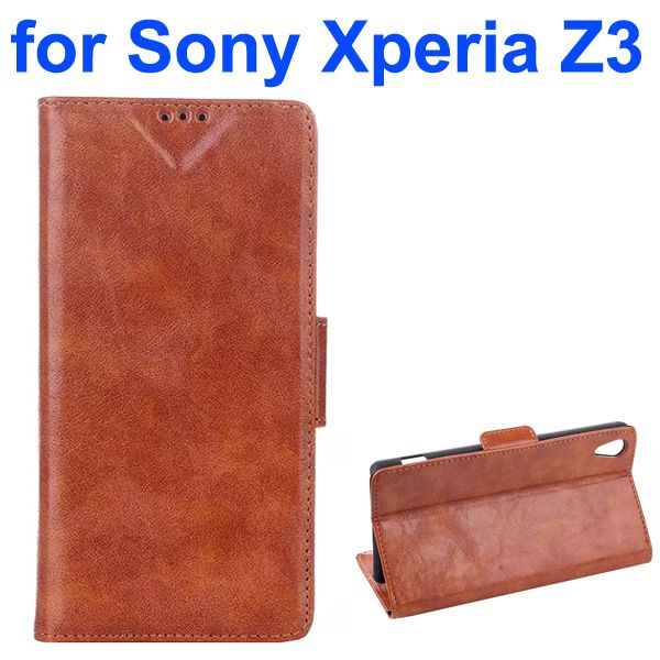 Oil Coated Pattern Leather Flip Cover for Sony Xperia Z3 with Card Slots (Brown)