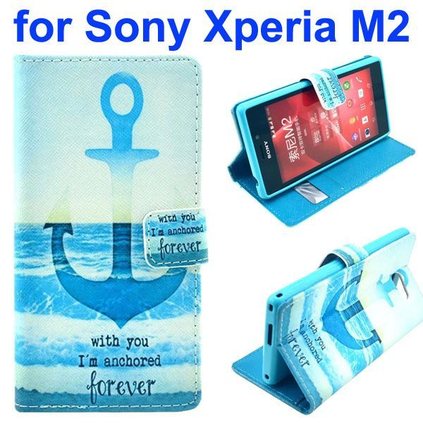 3D Printing Cross Texture Wallet Flip Leather Case for Sony Xperia M2 (The Anchor)