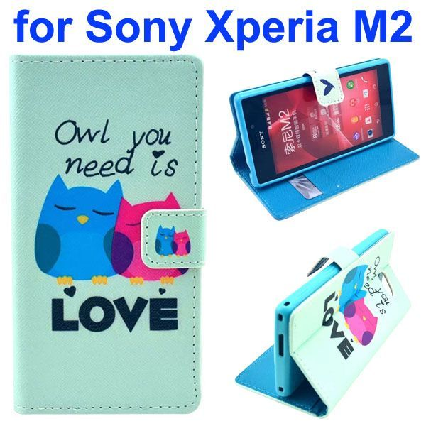3D Printing Cross Texture Wallet Flip Leather Case for Sony Xperia M2 (Loving Owls)