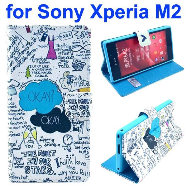 3D Printing Cross Texture Wallet Flip Leather Case for Sony Xperia M2 (Okay Okay)