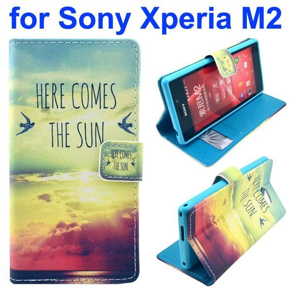 3D Printing Cross Texture Wallet Flip Leather Case for Sony Xperia M2 (The Sunrise)