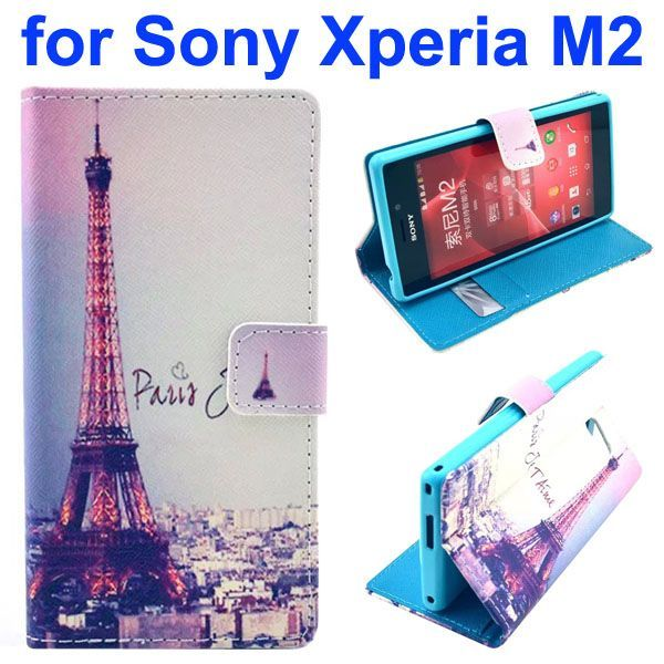3D Printing Cross Texture Wallet Flip Leather Case for Sony Xperia M2 (Eiffel Towl)
