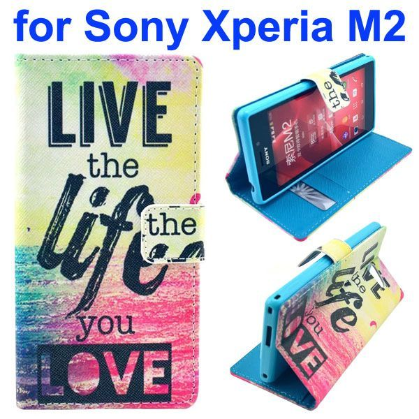 3D Printing Cross Texture Wallet Flip Leather Case for Sony Xperia M2 (Loving Life)