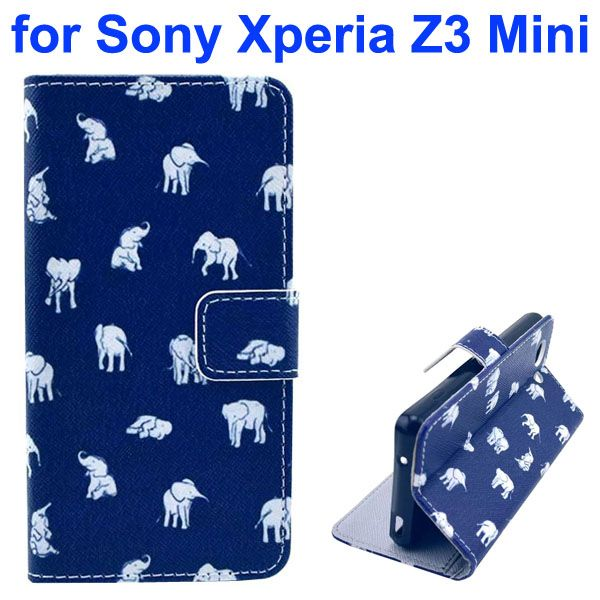 3D Color Printing Craft Cross Texture Wallet Flip Leather Case for Sony Xperia Z3 Compact (Elephants)