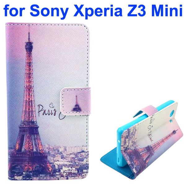 3D Color Printing Craft Cross Texture Wallet Flip Leather Case for Sony Xperia Z3 Compact (Tower)