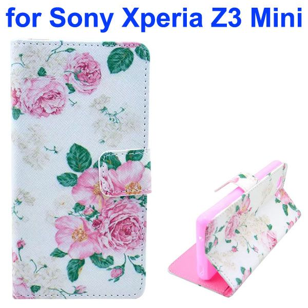 3D Color Printing Craft Cross Texture Wallet Flip Leather Case for Sony Xperia Z3 Compact (Flower)