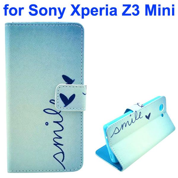 3D Color Printing Craft Cross Texture Wallet Flip Leather Case for Sony Xperia Z3 Compact (Smile Word)