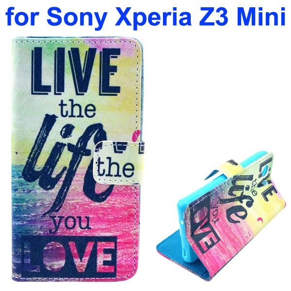 3D Color Printing Craft Cross Texture Wallet Flip Leather Case for Sony Xperia Z3 Compact (Live the Life)