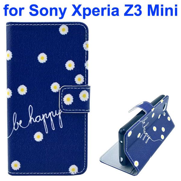 3D Color Printing Craft Cross Texture Wallet Flip Leather Case for Sony Xperia Z3 Compact (Be Happy)