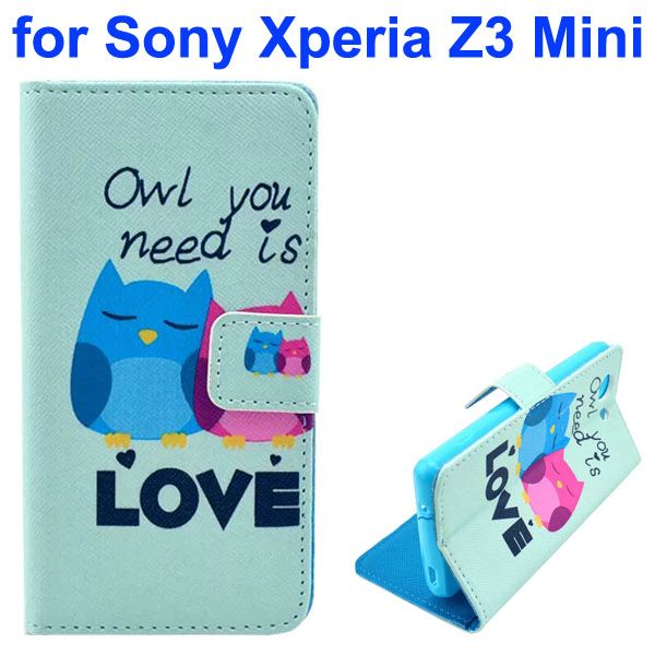 3D Color Printing Craft Cross Texture Wallet Flip Leather Case for Sony Xperia Z3 Compact (Owl)