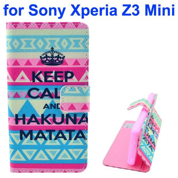 3D Color Printing Craft Cross Texture Wallet Flip Leather Case for Sony Xperia Z3 Compact (Trbal Pattern)